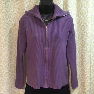 Evie purple zip front cardigan